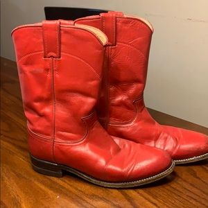 Justin red leather boots